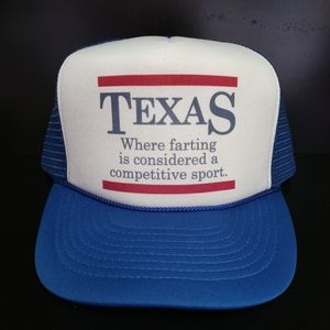 Vntg Texas Farting Competitive Sport Trucker Hat
